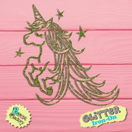 Glitter bow frame unicorn with long mane
