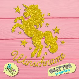 Glitter bow unicorn with stars and wishnames