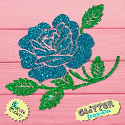 Glitter bow picture rose with leaves in two colors