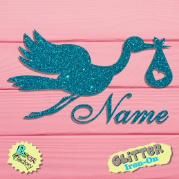 Glitzer bow image Stork with name
