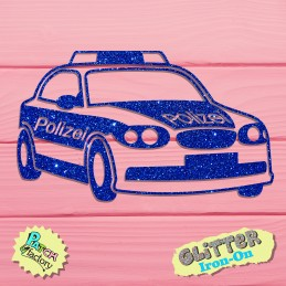 Glitter bow picture police car