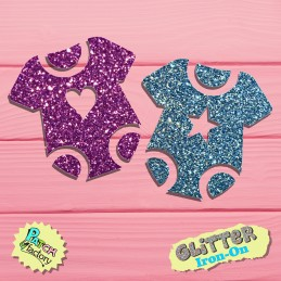ironing baby body glitter with heart or star small