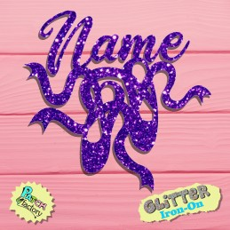 Glitter bow picture ballet shoes with name
