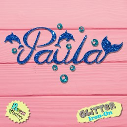 Glitter iron-on name with...