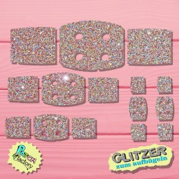 Glitter bow patch patch 6 pieces in different sizes