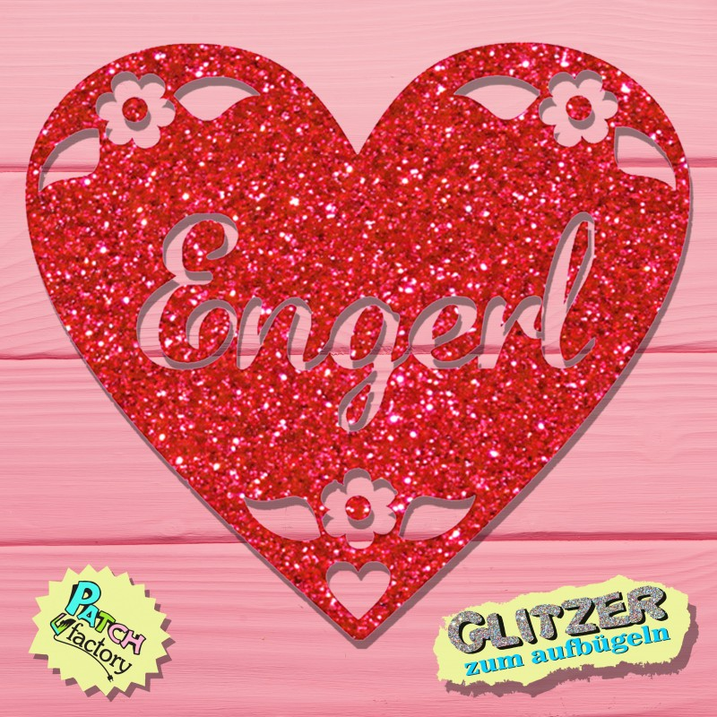 Glitter iron-on picture heart with name as desired