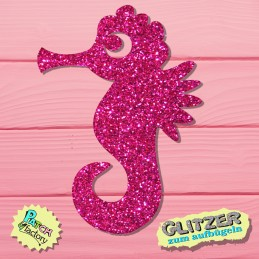 Glitter iron-on picture seahorse small