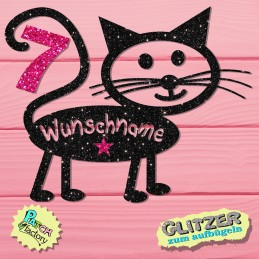 Birthday iron-on picture cat with name and number in glitter