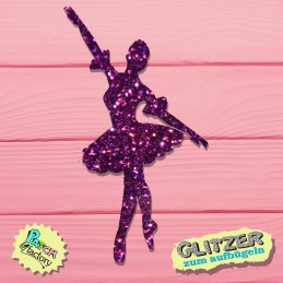 Glitter iron-on picture ballerina small