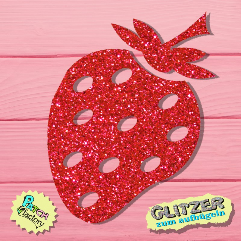 Glitter iron-on picture strawberry two colors