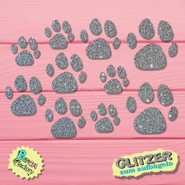 Glitter iron-on picture paw print 10 pieces