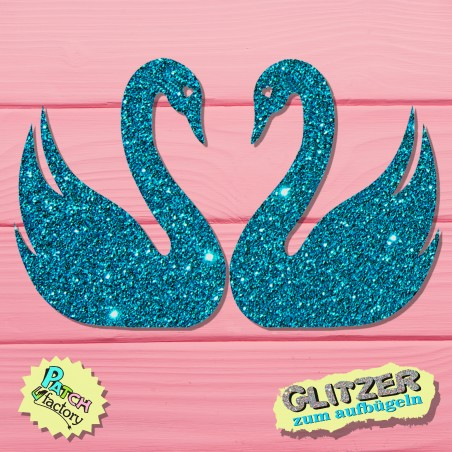 Glitter iron-on picture swan couple