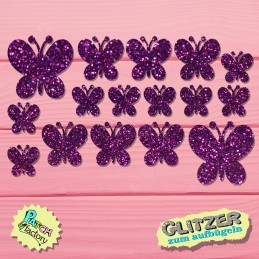 Glitter iron-on picture butterfly 16 pieces in different sizes