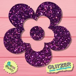 Glitter iron-on picture flower small