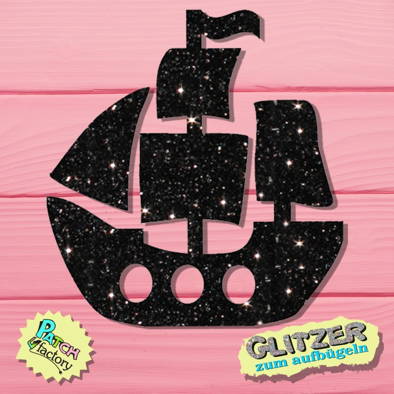 Glitter iron-on picture pirate ship small