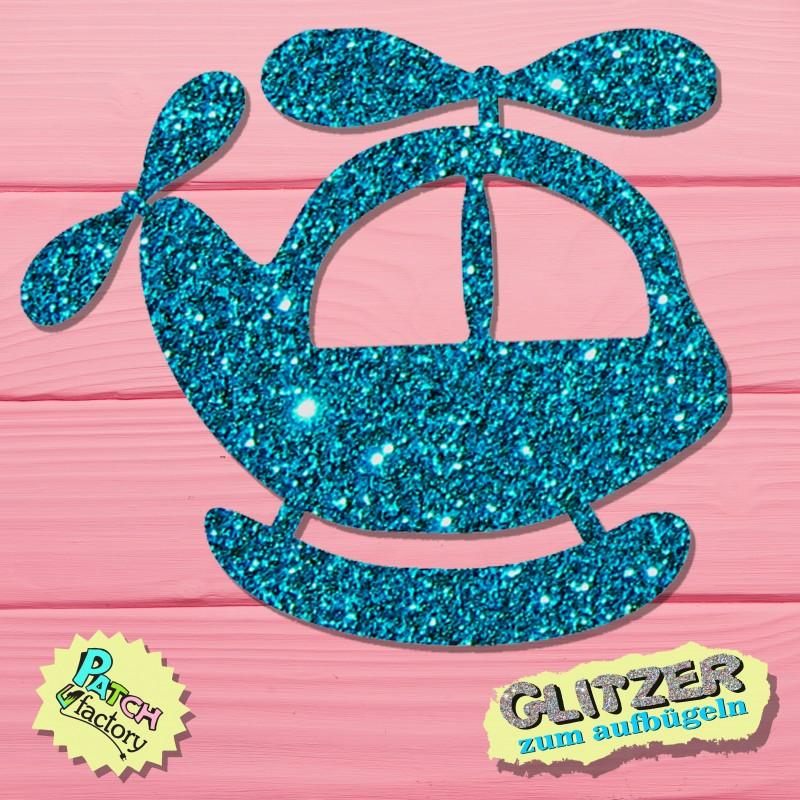 Glitter iron-on picture helicopter small