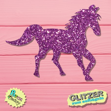 Glitter iron-on picture horse small