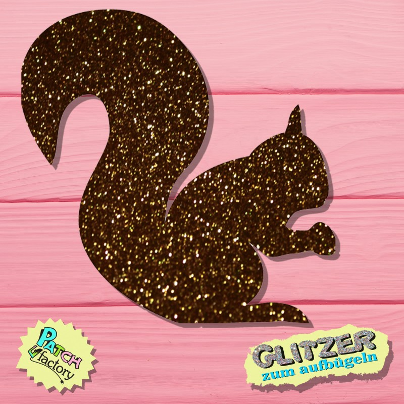 Glitter iron-on picture squirrel