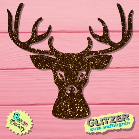 Glitter iron-on picture deer head with antlers
