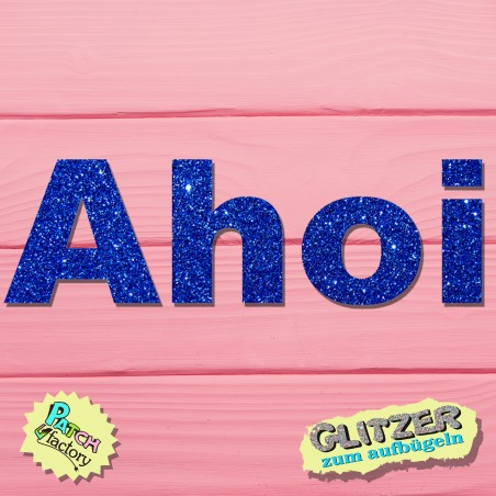 Glitter iron-on picture lettering Ahoy
