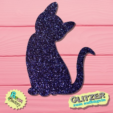 Glitter iron-on picture cat sitting