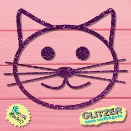 Glitter iron-on picture cat cat head