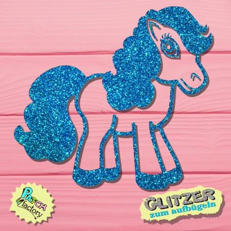 Glitter iron-on picture horse with pretty mane