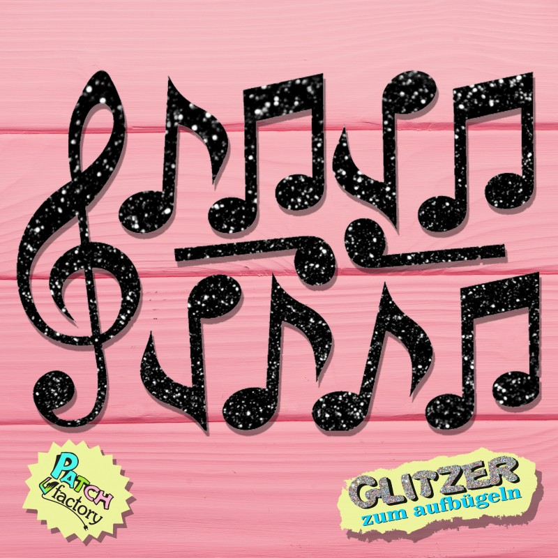 Glitter iron-on picture sheet music and clef