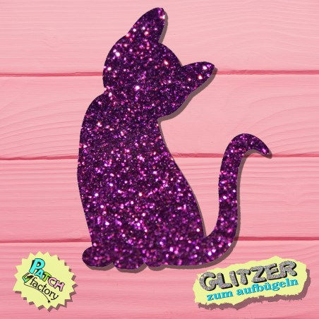 Glitter iron-on picture cat sitting small