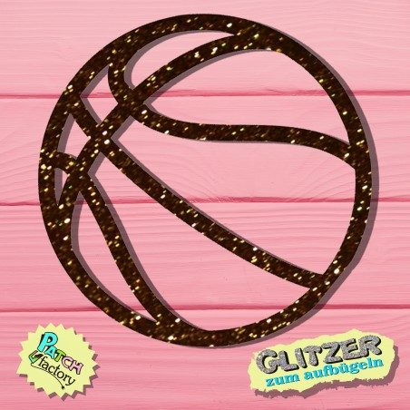 Glitter iron-on picture basketball small