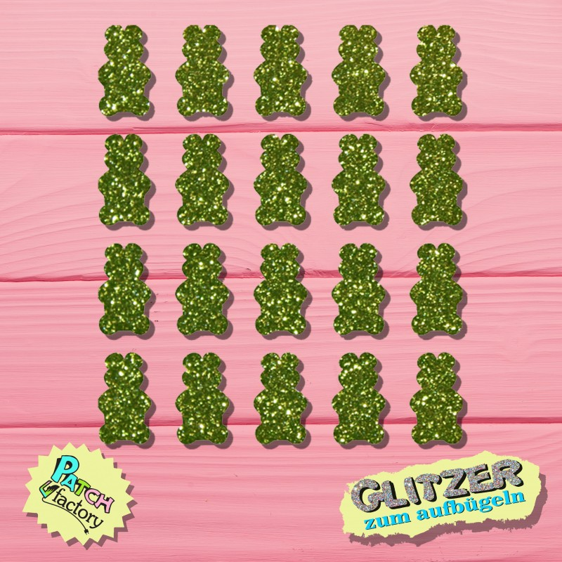 Glitter iron-on picture gummy bears set 20 pieces