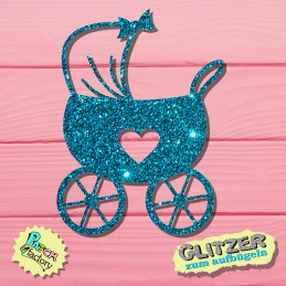 Glitter iron-on picture pram