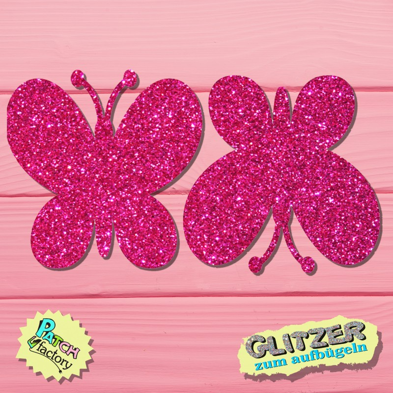 Glitter iron-on butterfly patch