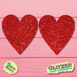 Glitter iron-on heart patch