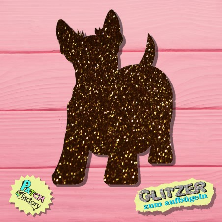 Glitter iron-on picture dog terrier small