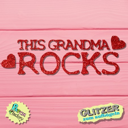 Glitter iron-on picture lettering this grandma rocks with hearts