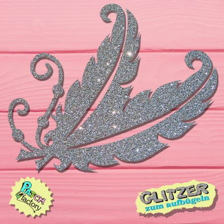 Glitter iron-on picture feather