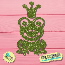 Glitter iron-on picture frog king small