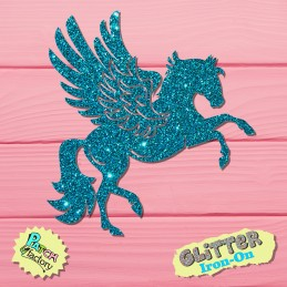 Glitter iron-on Pegasus horse with wings