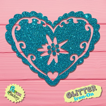 Glitter iron-on picture edelweiss blossom in heart