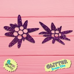 Glitter iron-on picture edelweiss flowers