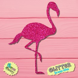 Glitter iron-on picture flamingo