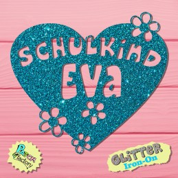 Glitter iron-on picture school child heart with name