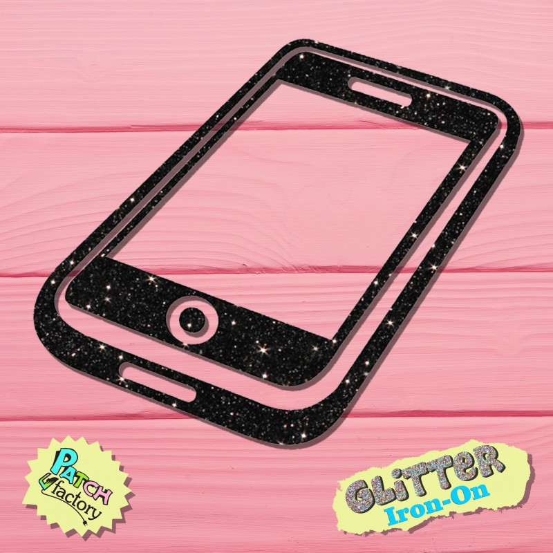 Glitter iron-on picture mobile phone