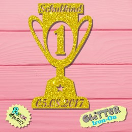 Glitter iron-on picture school child trophy with date