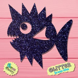 Glitter iron-on picture puffer fish
