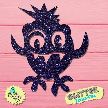 Glitter iron-on picture monster