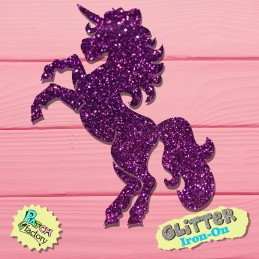 Glitter iron-on picture unicorn jumping
