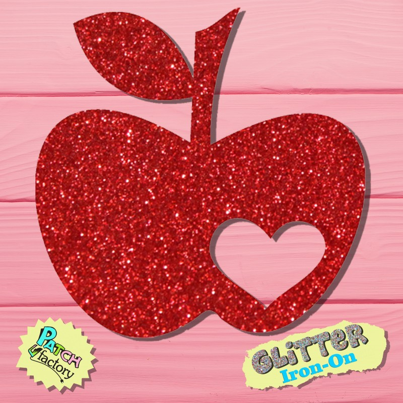 Glitter Bow apple with heart small