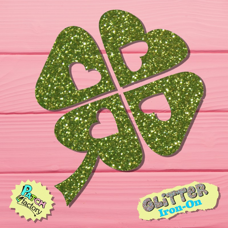 Glitzer bow picture clover leaf with heart